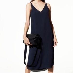 ARITZIA BABATON JEREMY SLIP DRESS BLACK V NECK
